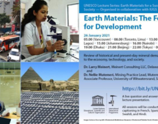 """UNESCO Lecture Series""""Earth Materials for a Sustainable and Thriving Society""""January – March 2021"""